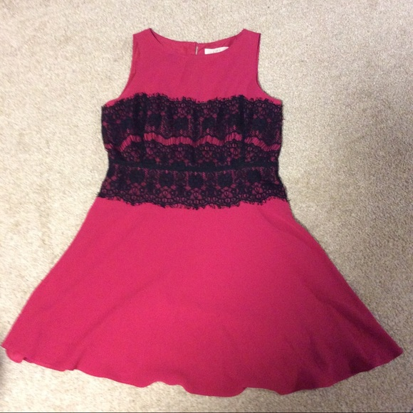 Loft Dresses Hot Pink And Black Lace Dress Poshmark